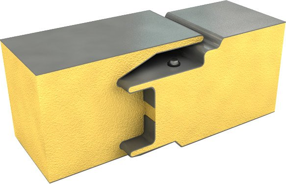 Двойной замок со скрытым креплением для сэндвич-панелей с наполнителем PIR.